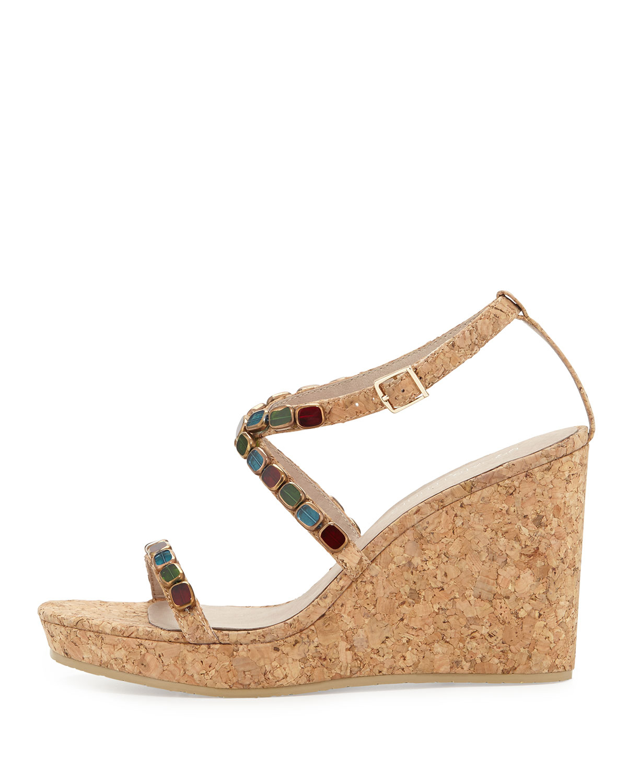 donald j pliner wondra jeweled cork wedge sandal in beige