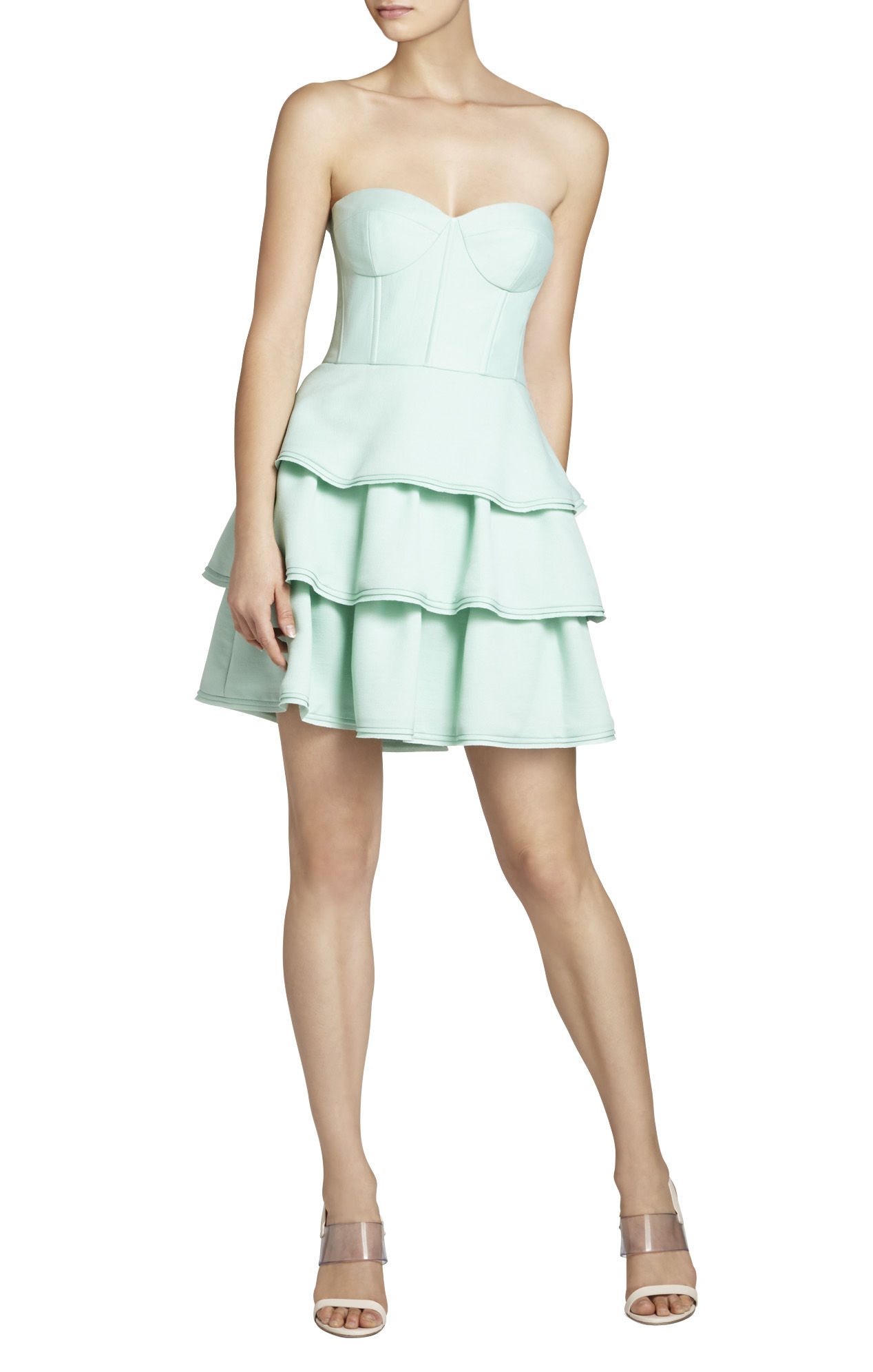Bcbgmaxazria Jacklyn Sleeveless Tiered Ruffle-skirt Dress in Green (OPALINE GREEN) - Save 50% | Lyst