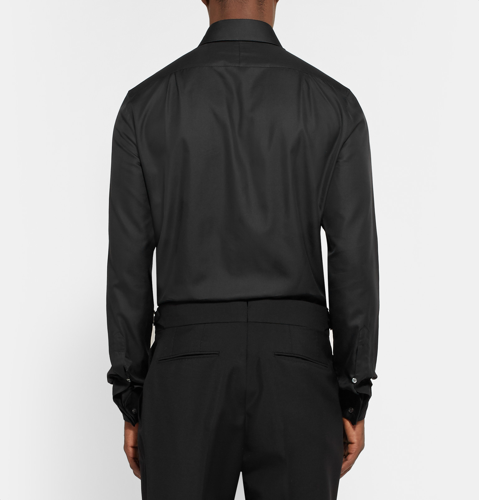Berluti black slim fit pleated cotton and silk blend for Black tuxedo shirt slim fit