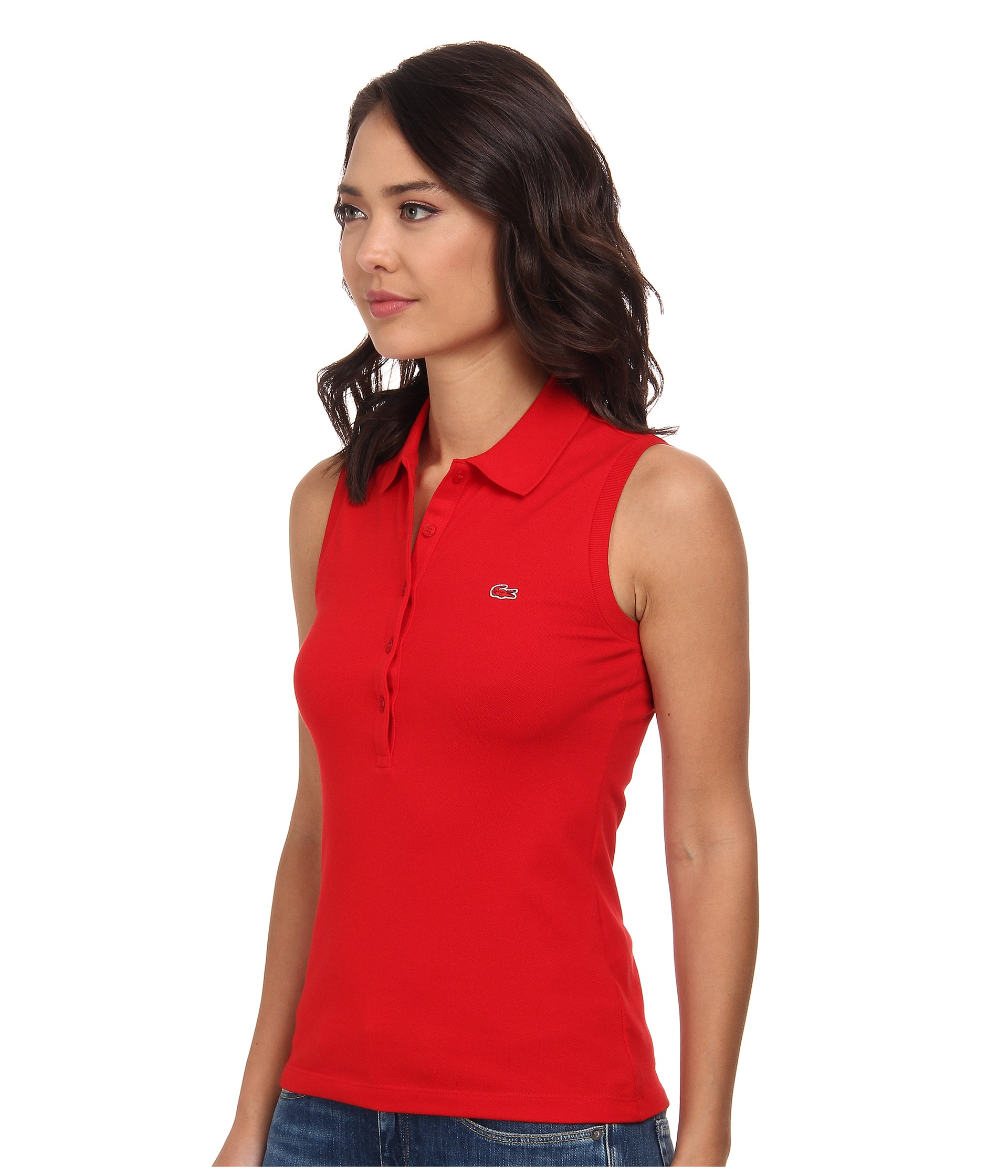 ba0a5a3bb78365 Lyst - Lacoste Sleeveless Slim Fit Stretch Pique Polo Shirt in Red