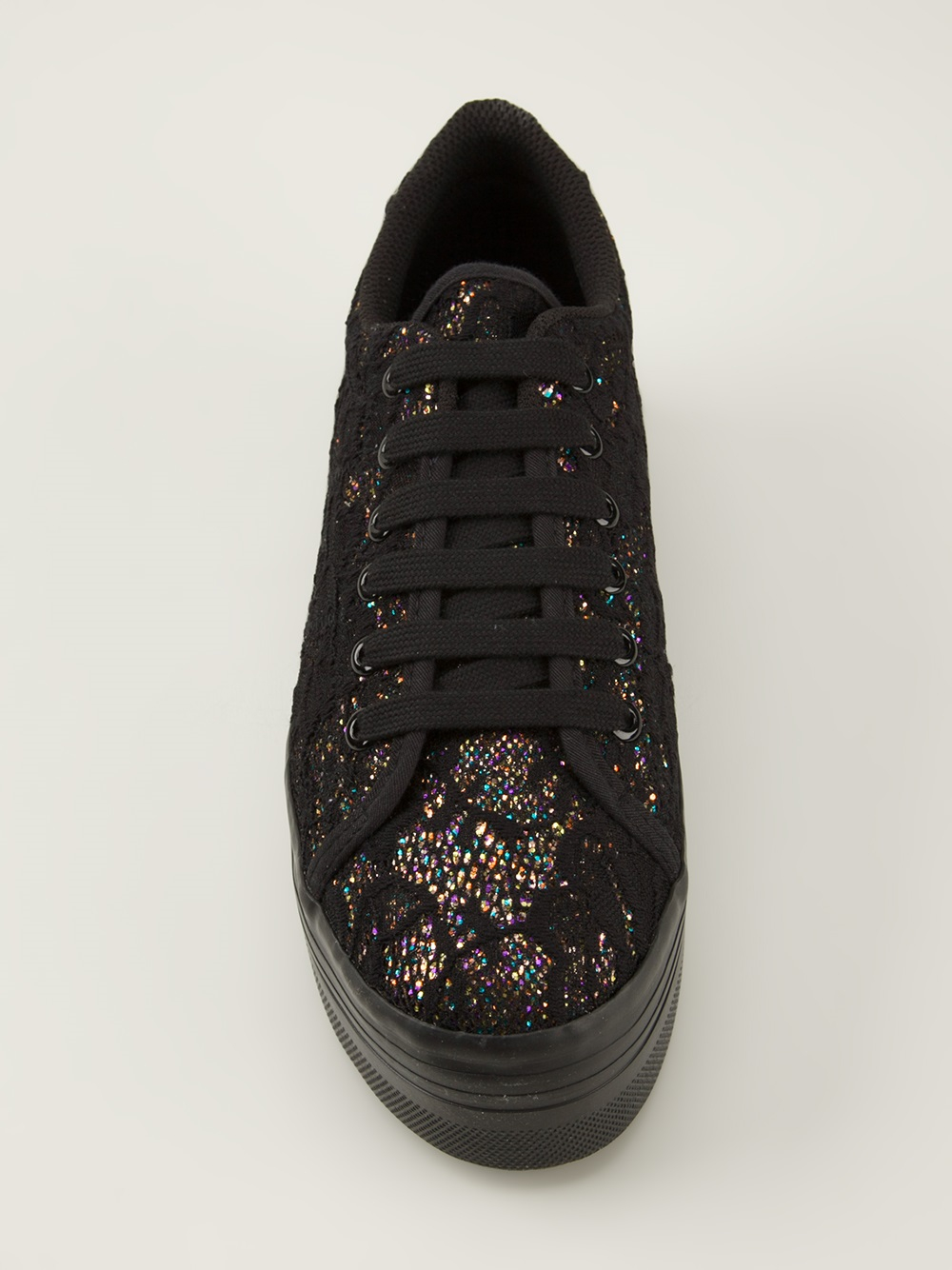 3a5bc5250b44 Jeffrey Campbell Zomg Glitter Platform Trainer in Black - Lyst