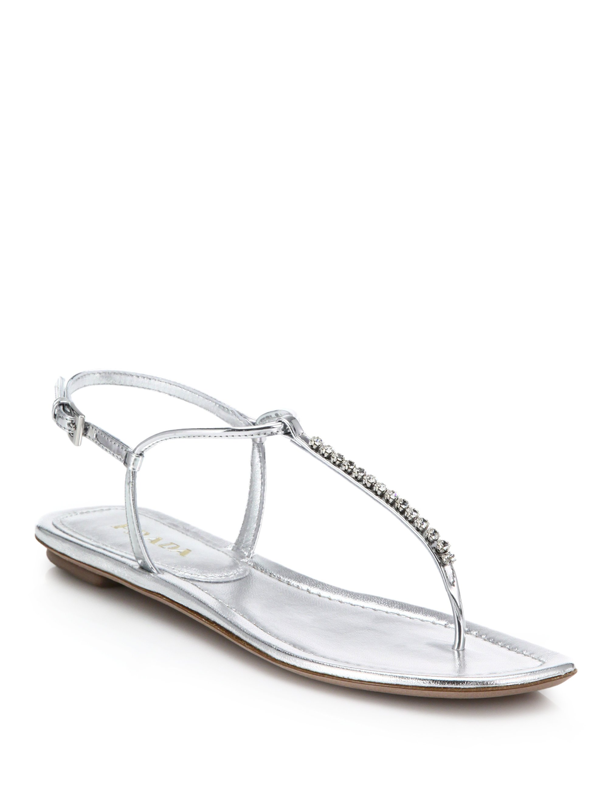 0270b4333 Prada Swarovski Crystal Flat Metallic Leather Sandals in Metallic - Lyst