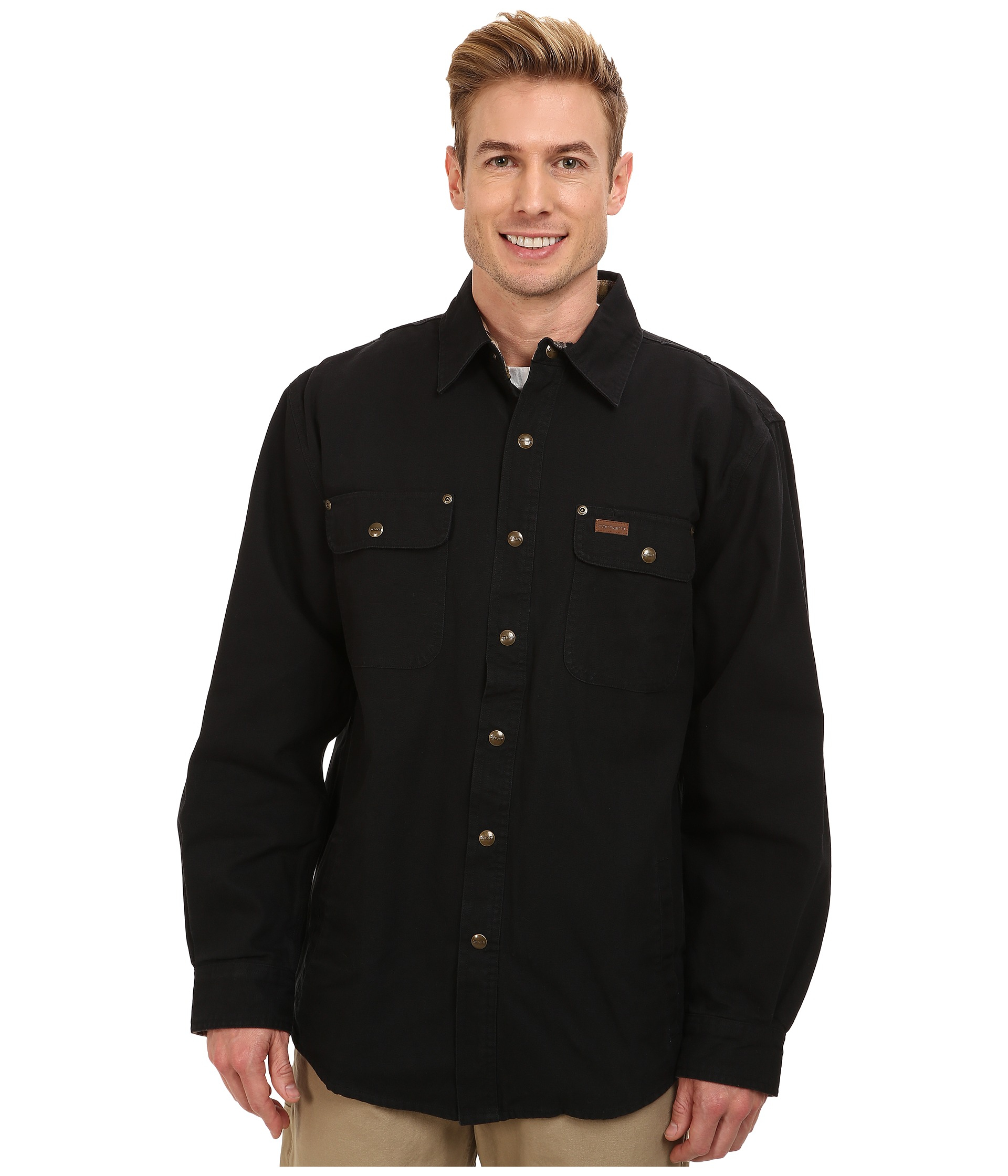 Lyst - Carhartt Weathered Canvas Shirt Jacket in Black for Men