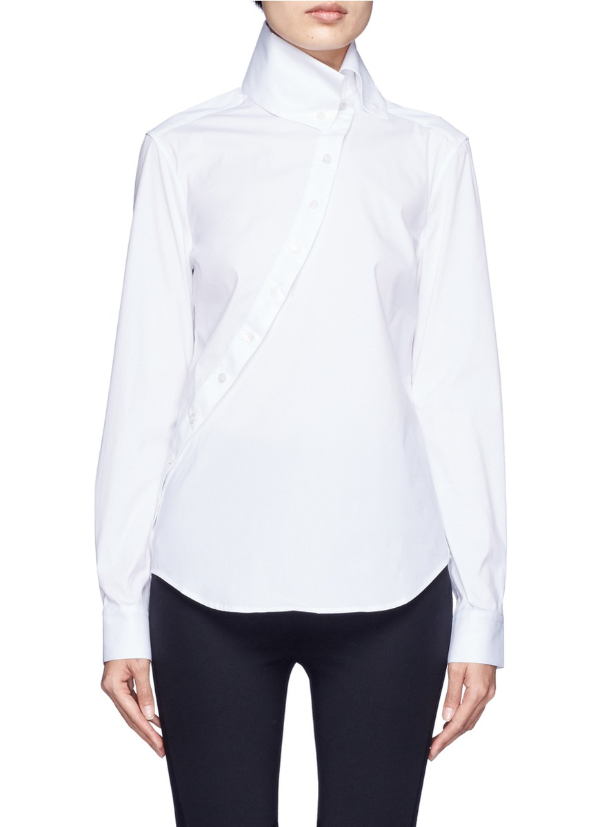 Mcq Slanted Placket High Collar Shirt In White Lyst