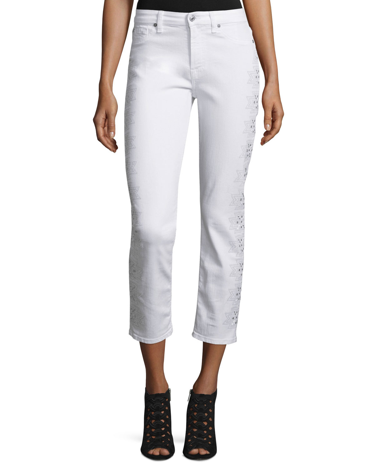 For all mankind kimmie embroidered outseam cropped jeans