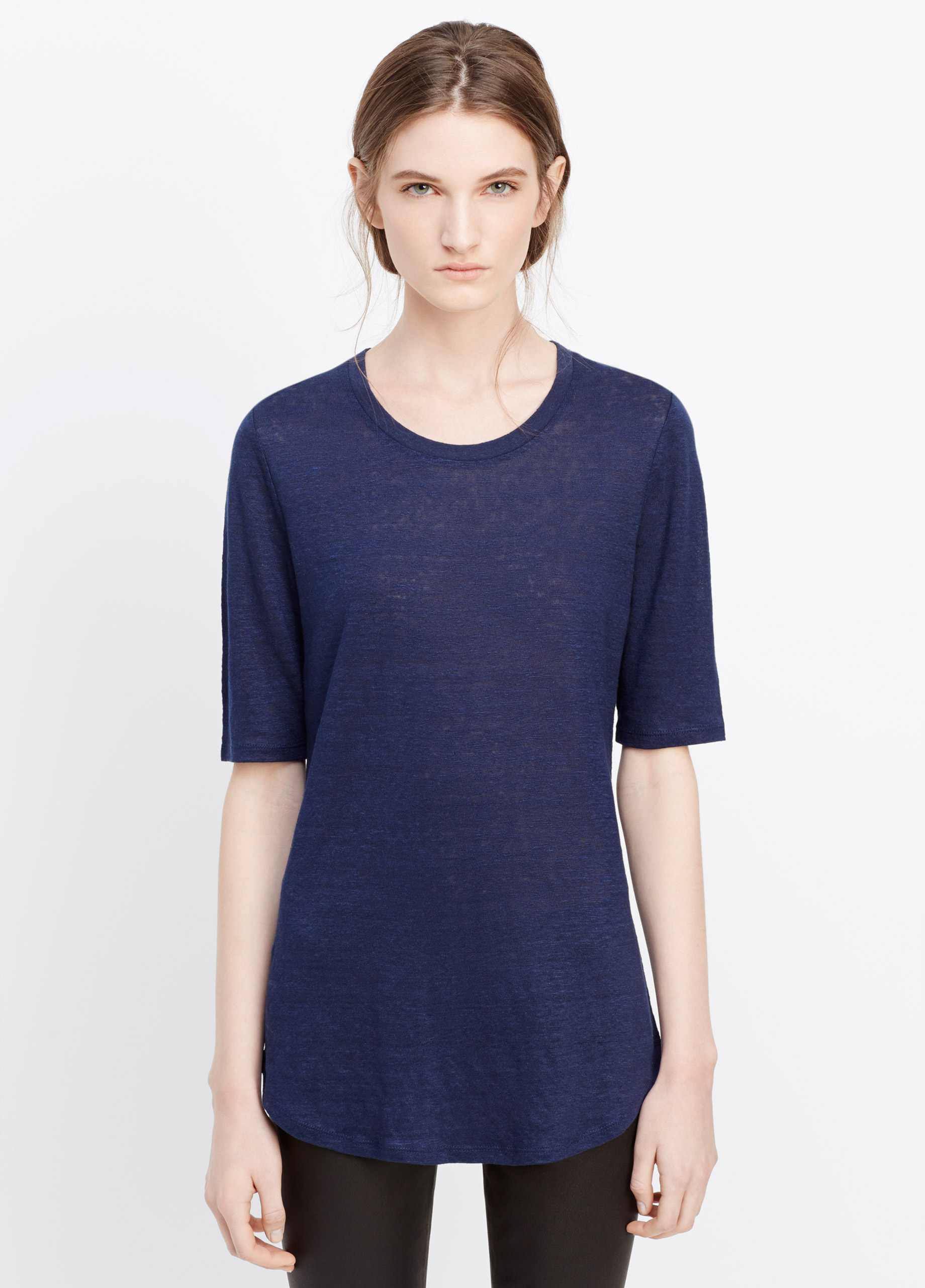 Vince Elbow Sleeve Linen Tee In Blue Marine Blue Lyst