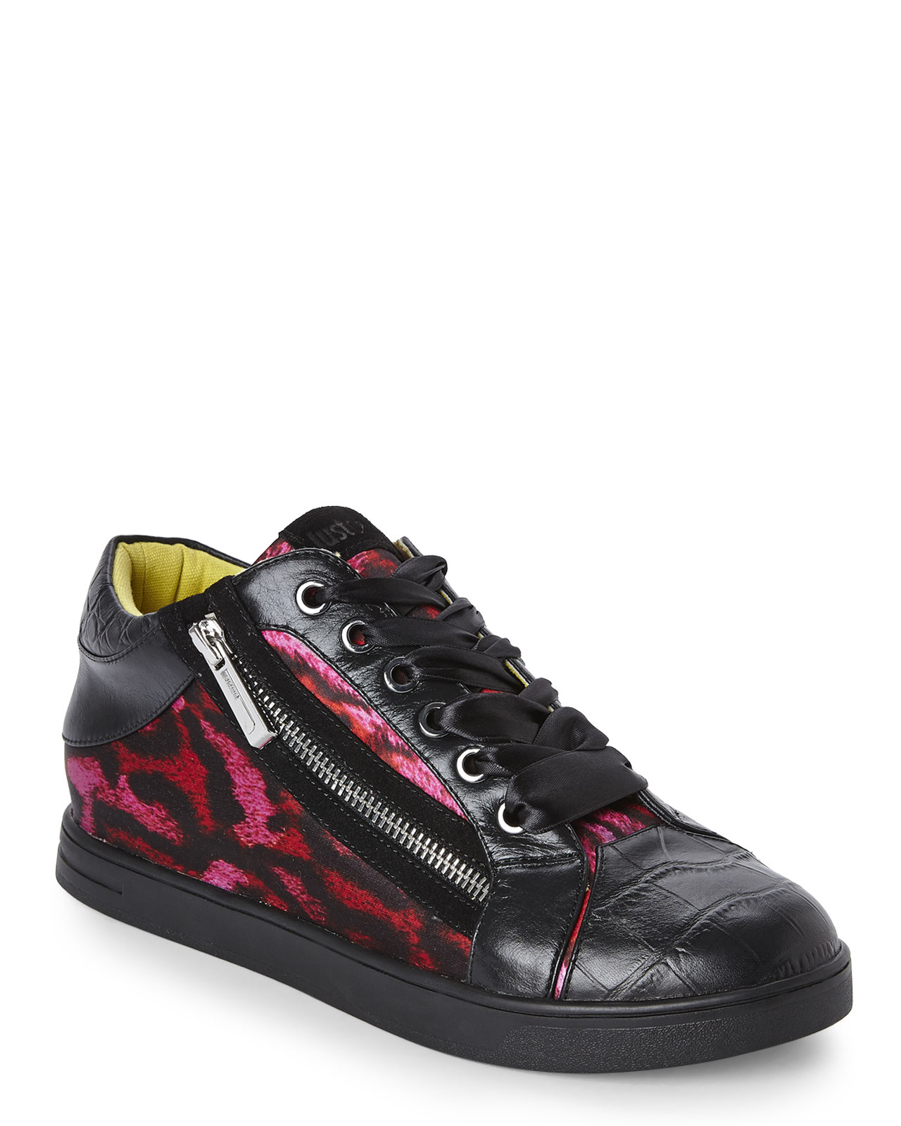 just cavalli black red leopard printed sneakers in red black red lyst. Black Bedroom Furniture Sets. Home Design Ideas