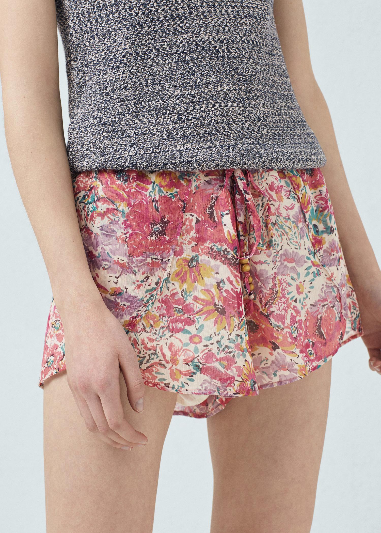 Mango Flower-print Flowy Shorts | Lyst