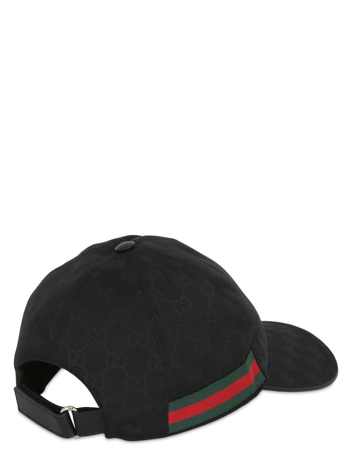 gucci web gg jacquard baseball hat in black for lyst