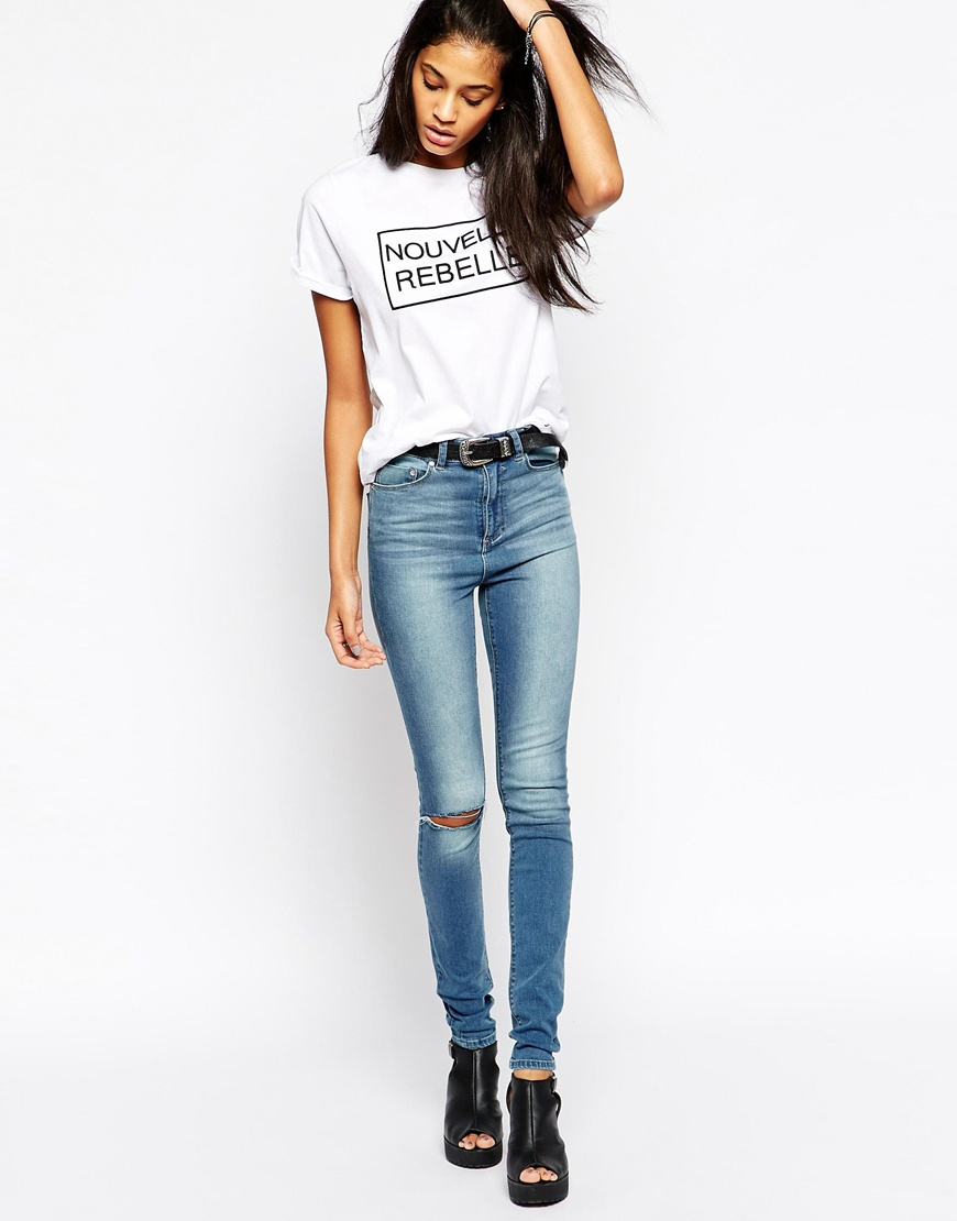 Tall high waisted ripped skinny jeans