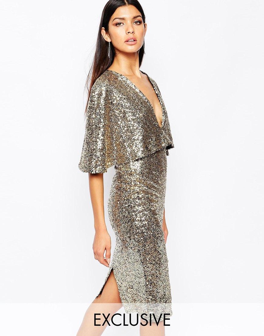 Club L Kimono Sleeve Midi Dress In Allover Sequin With