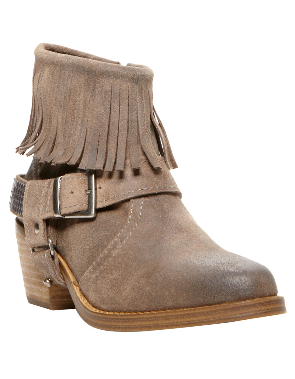steve madden cavvo leather fringe ankle boots in beige lyst