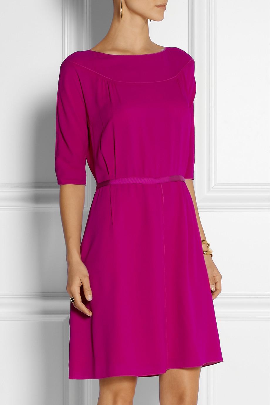 lyst nina ricci silk crepe de chine dress in purple. Black Bedroom Furniture Sets. Home Design Ideas