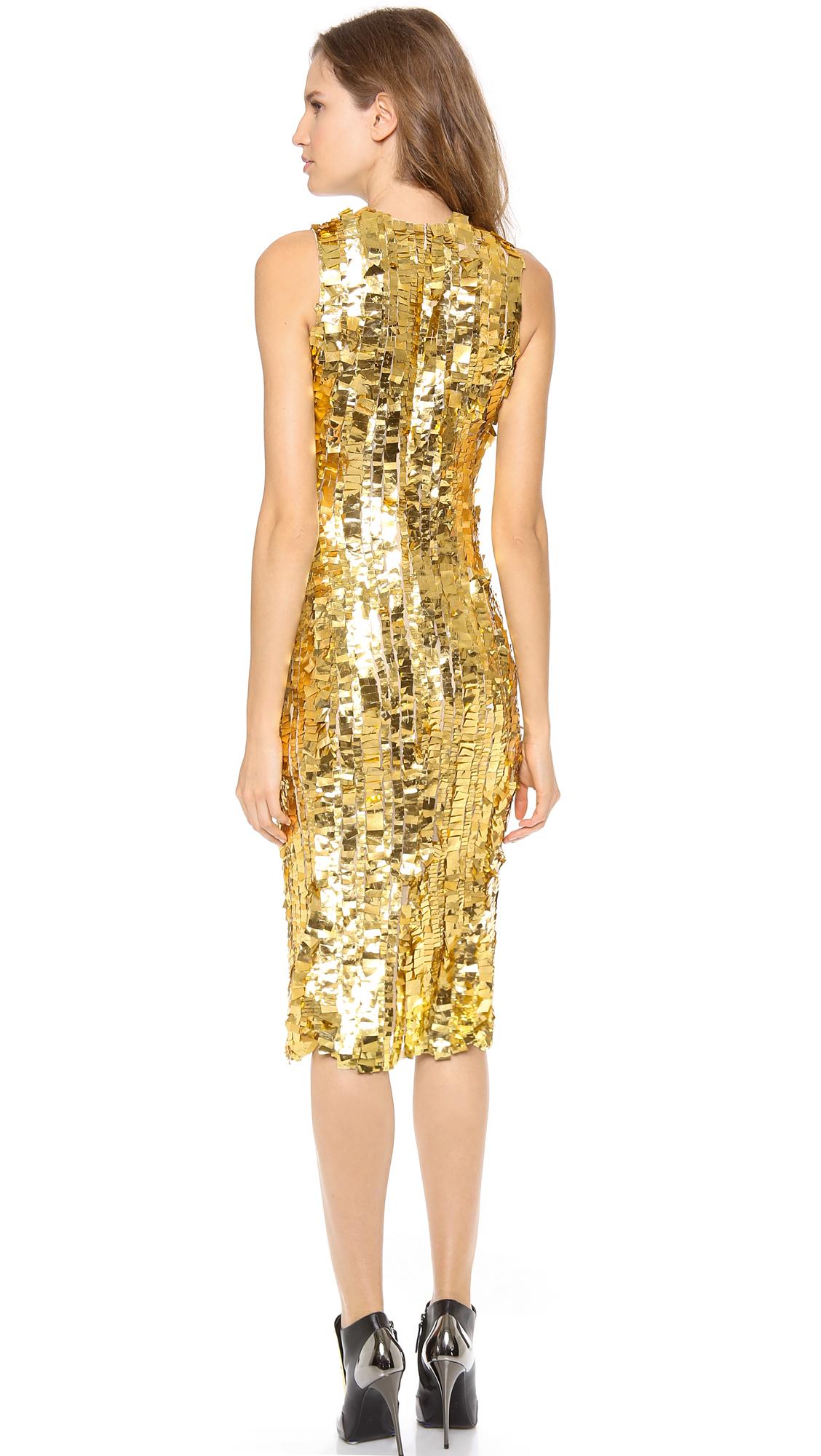Wes gordon Silk Sheath Dress in Metallic | Lyst
