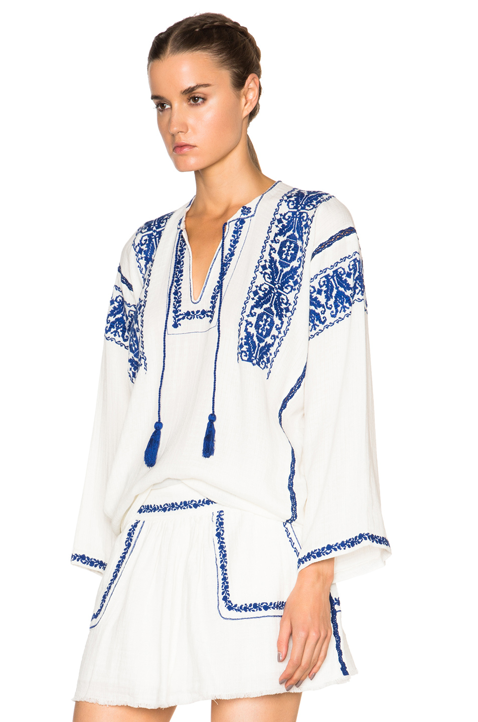 lyst toile isabel marant vince embroidery blouse in white. Black Bedroom Furniture Sets. Home Design Ideas
