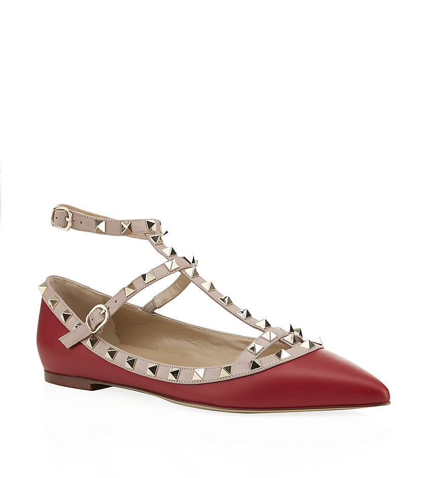 valentino rockstud leather ballet flat in red lyst. Black Bedroom Furniture Sets. Home Design Ideas