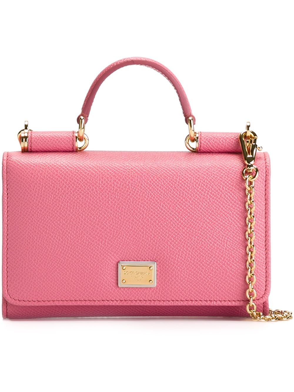 1182547644 Dolce   Gabbana Mini Phone Bag With Chain in Pink - Lyst