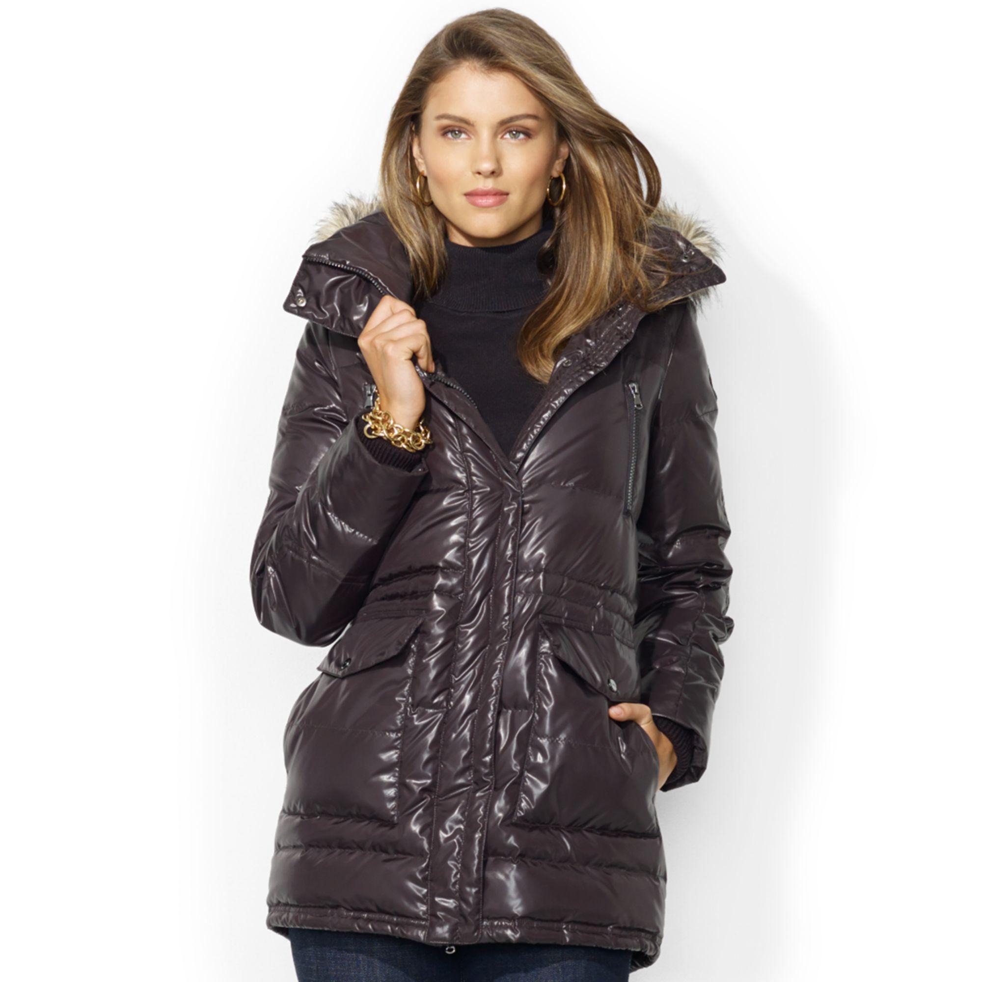 Lauren Ralph Lauren Faux-Fur-Trim Hooded Down Puffer Coat ...
