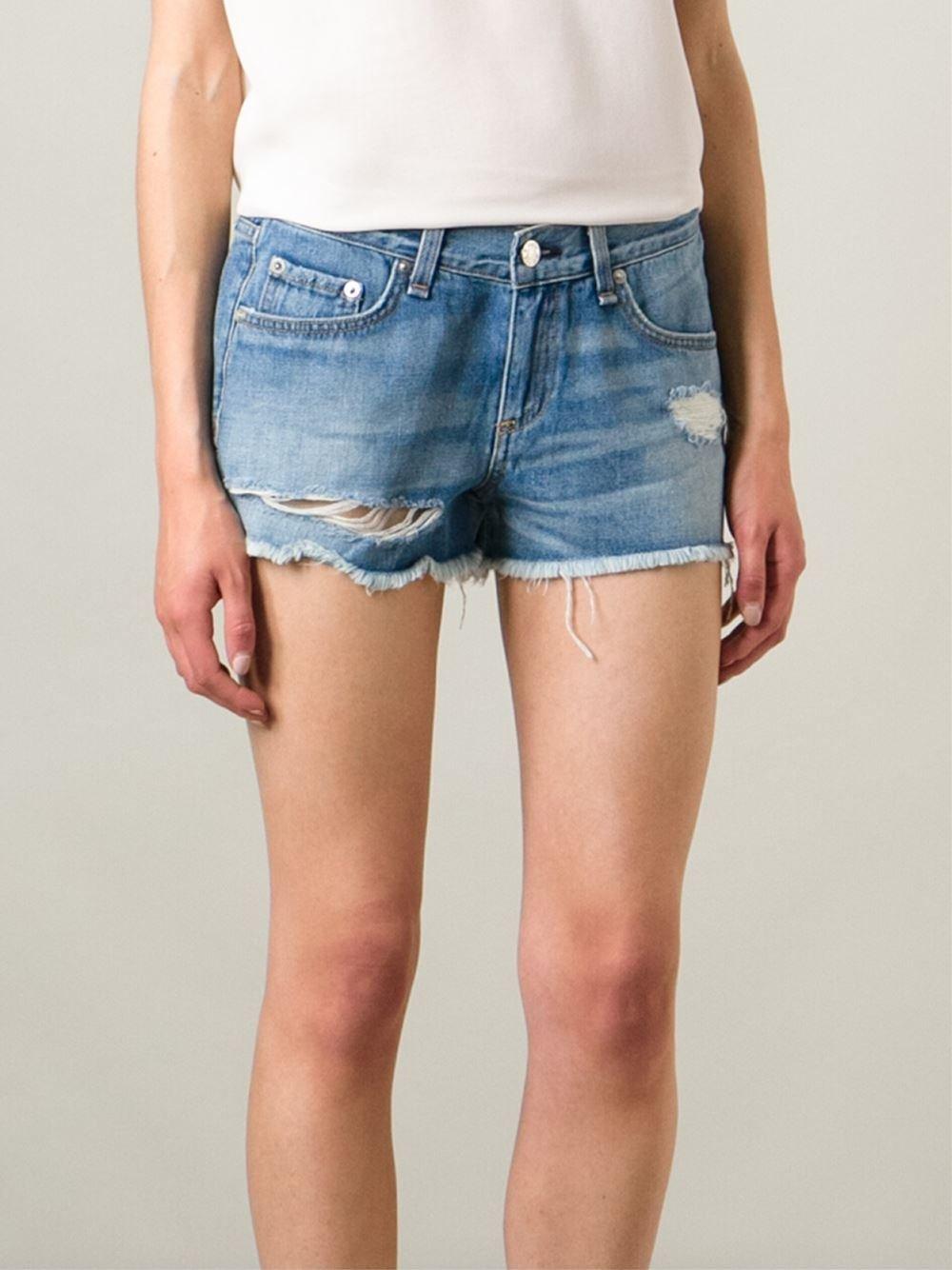f9becb2e5a54e Lyst - Rag   Bone Cut-Off Ripped Denim Shorts in Blue