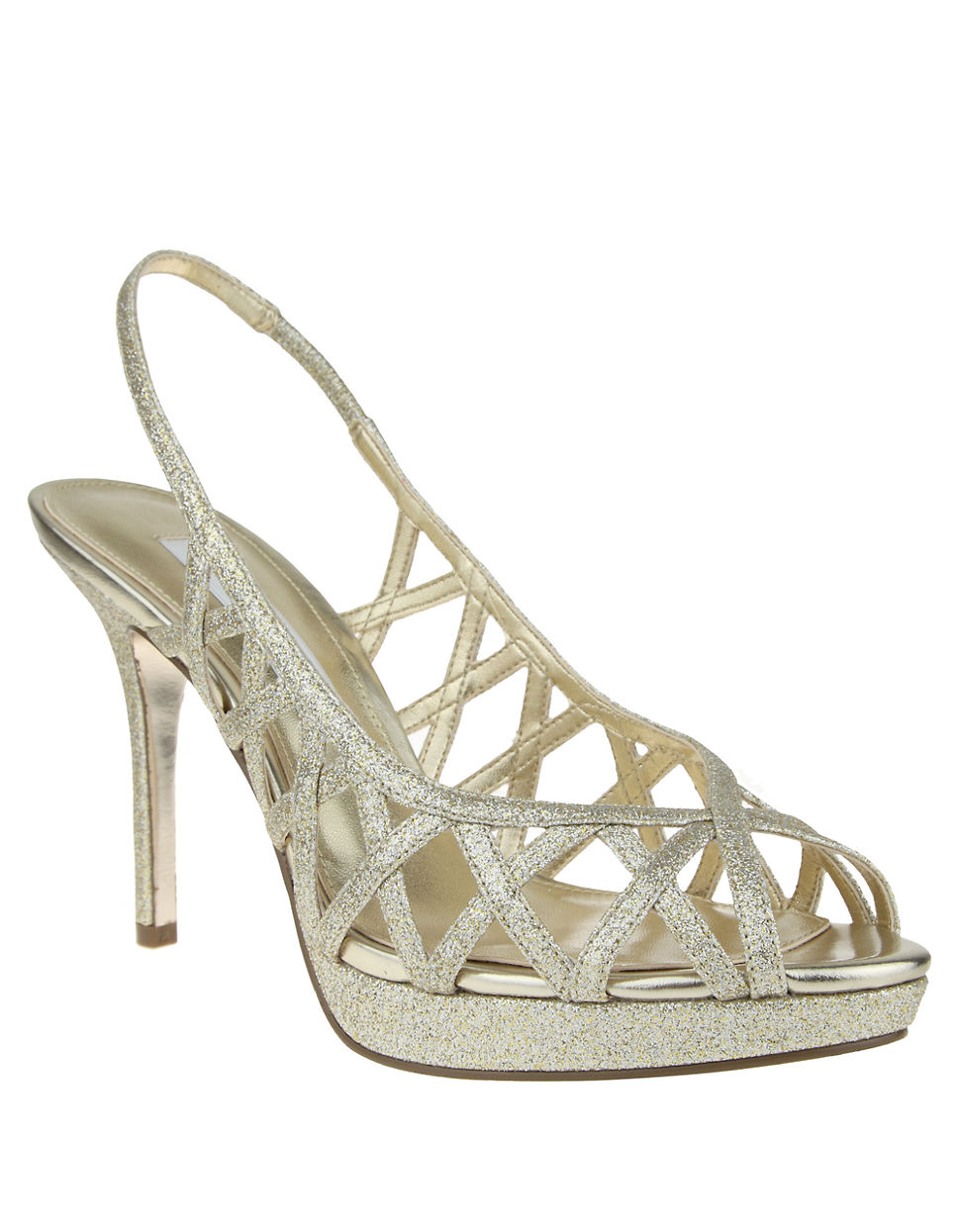 a89c71e966e8 Lyst - Nina Fantina Glitter Peep-toe Slingback Sandals in Metallic
