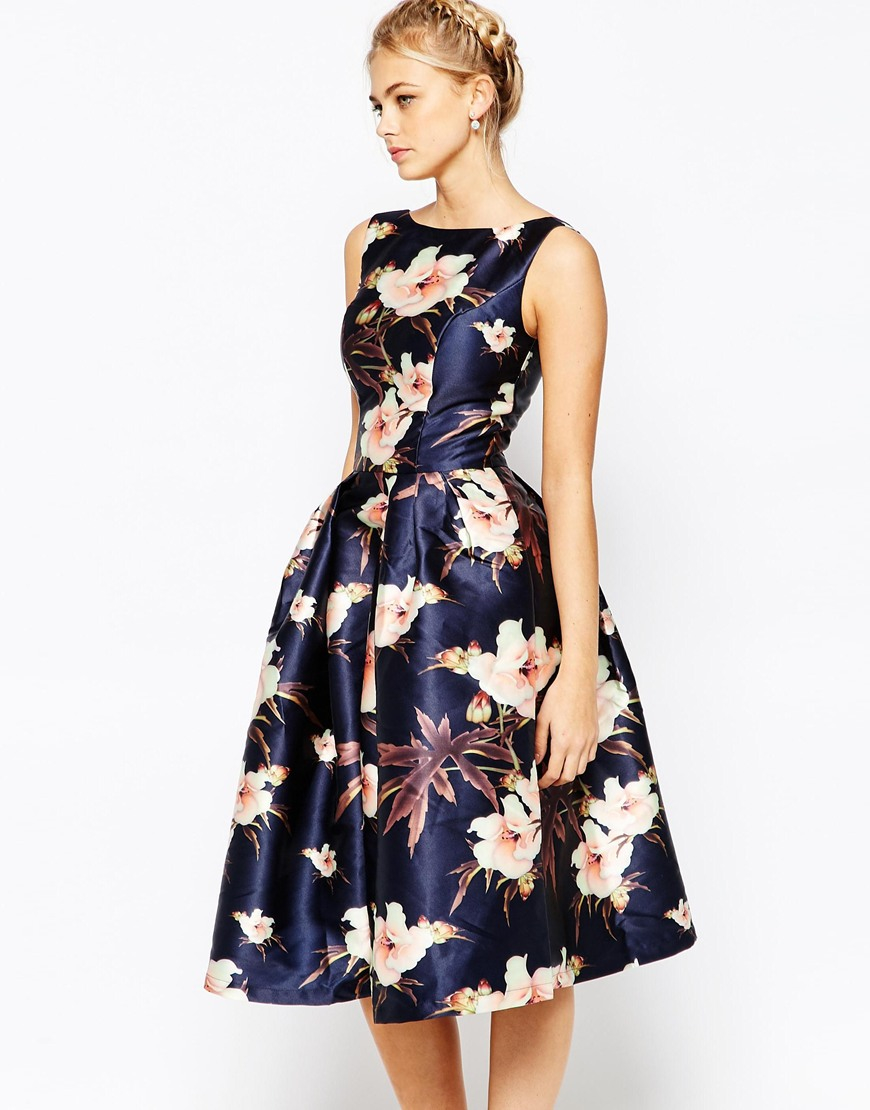 Lyst - Chi Chi London Full Prom Skater Dress In Floral Print - Navy ... 9d35a12a2