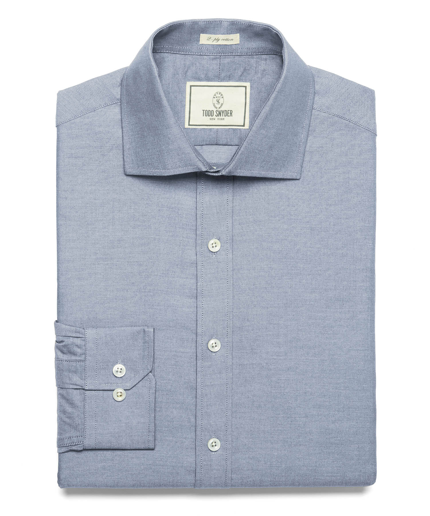 todd snyder fulton chambray dress shirt in denim in blue
