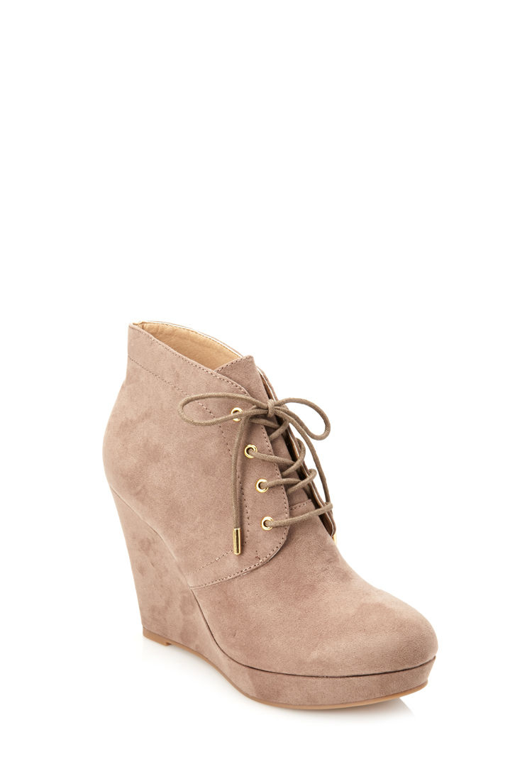 Forever 21 Lace-up Wedge Booties in Brown