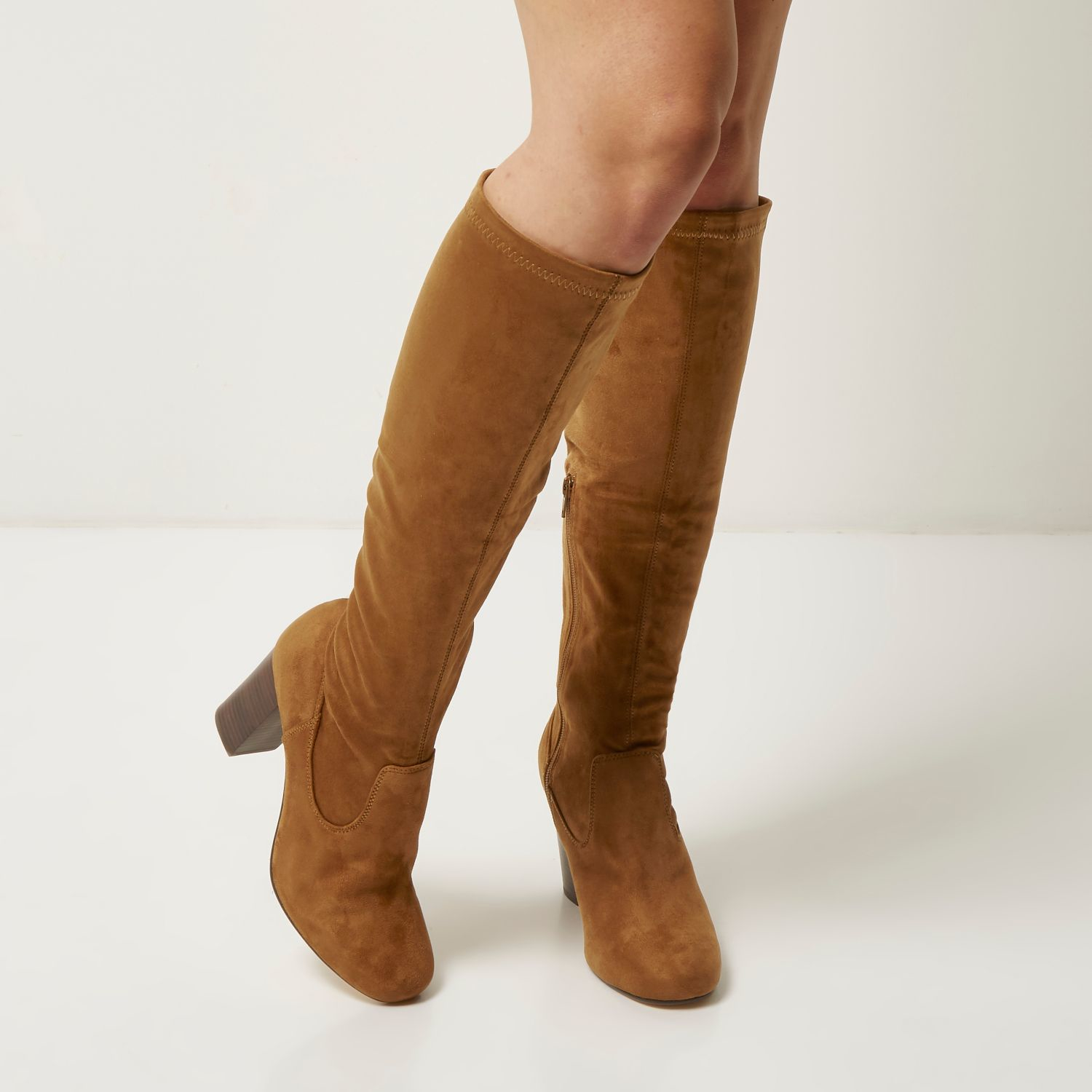 e492b558ec3 Lyst - River Island Tan Faux Suede Heeled Knee High Boots in Brown