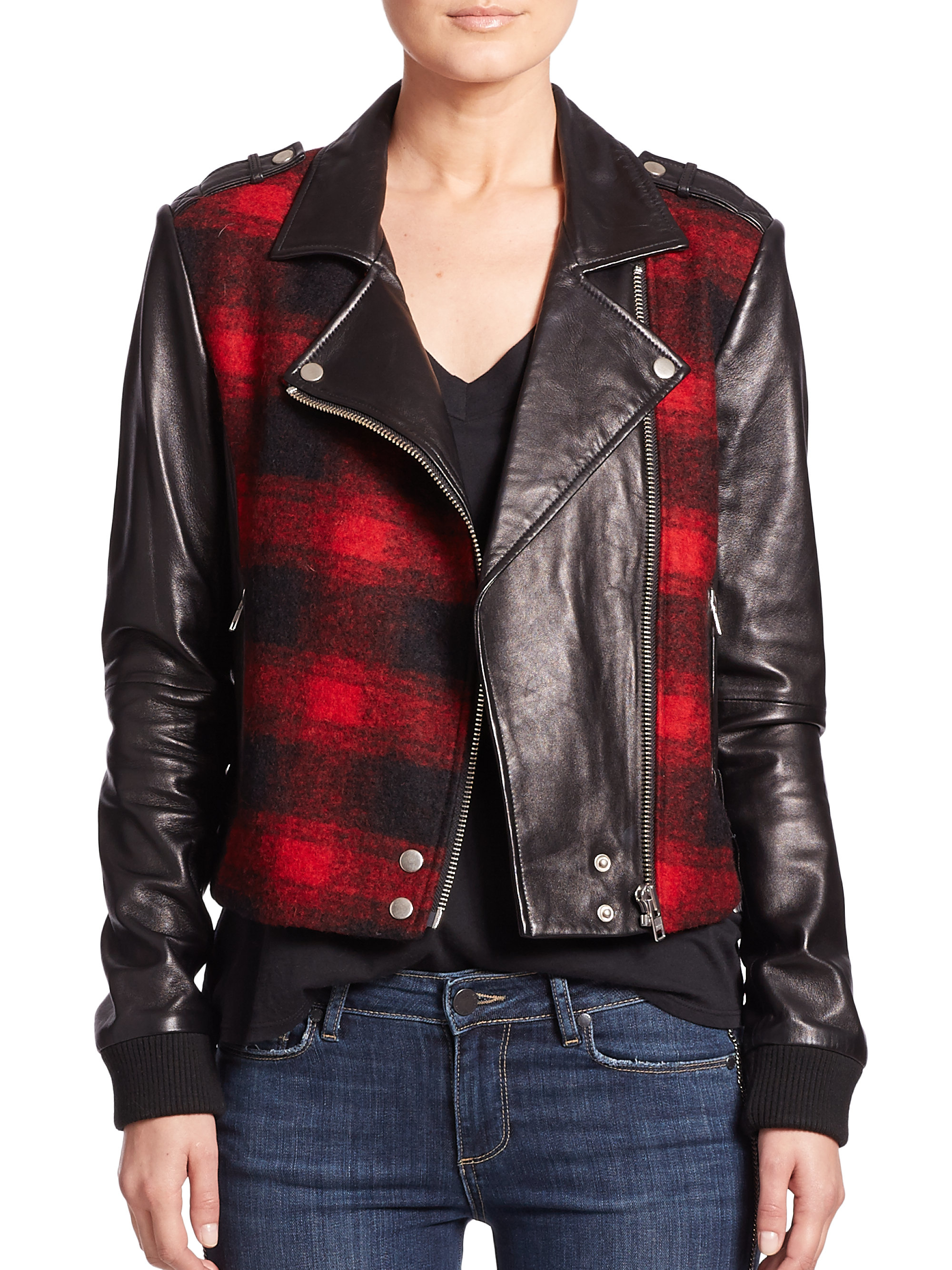 Paige Shelley Plaid Leather Moto Jacket In Black Lyst