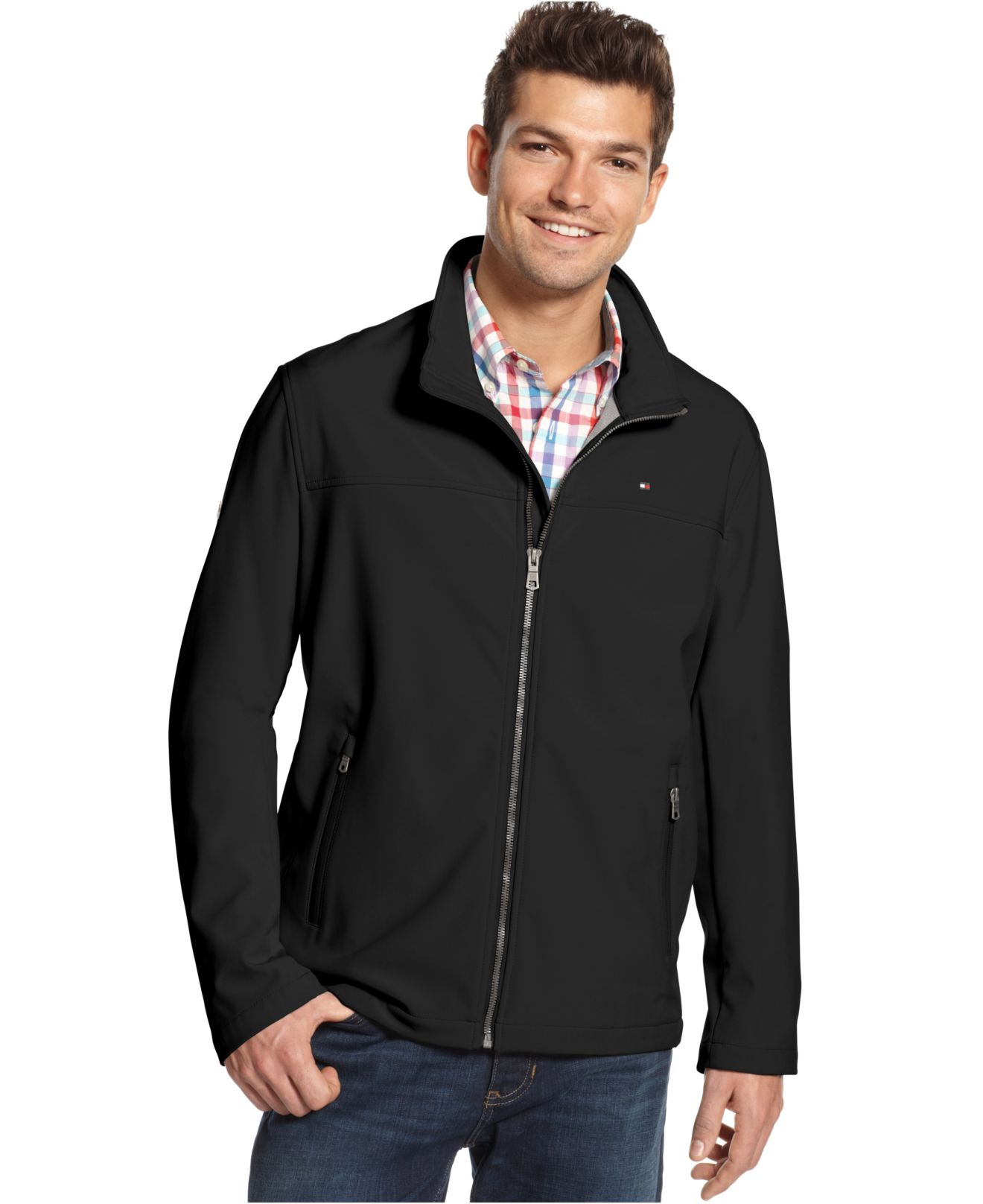 lyst tommy hilfiger soft shell jacket in black for men. Black Bedroom Furniture Sets. Home Design Ideas