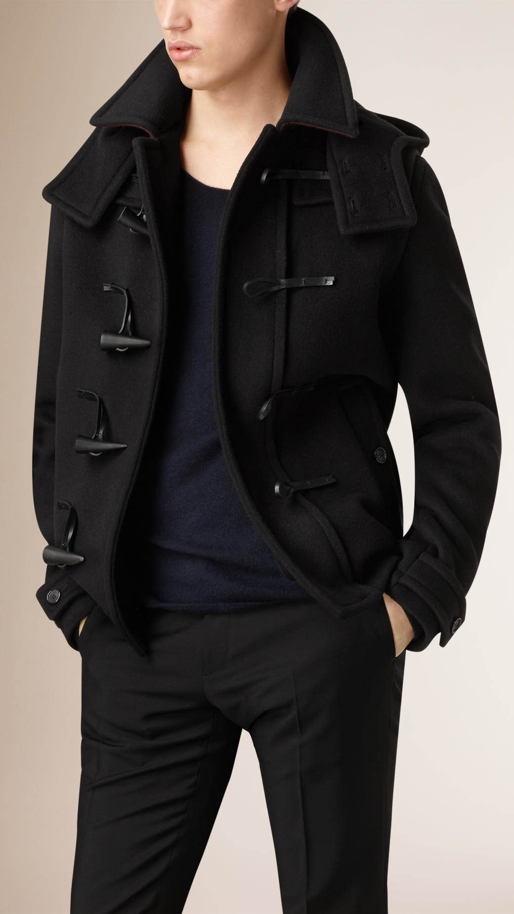 Burberry Virgin Wool Duffle Coat With Detachable Hood in Black for ...