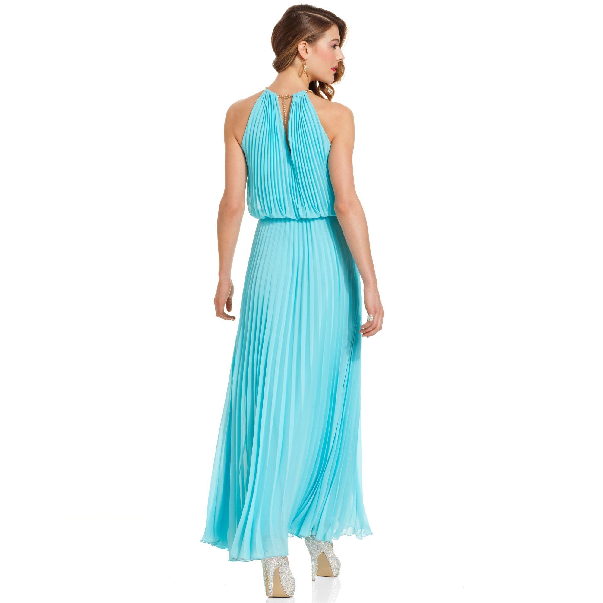 Lyst - Xscape Pleated Halter Blouson Gown in Blue