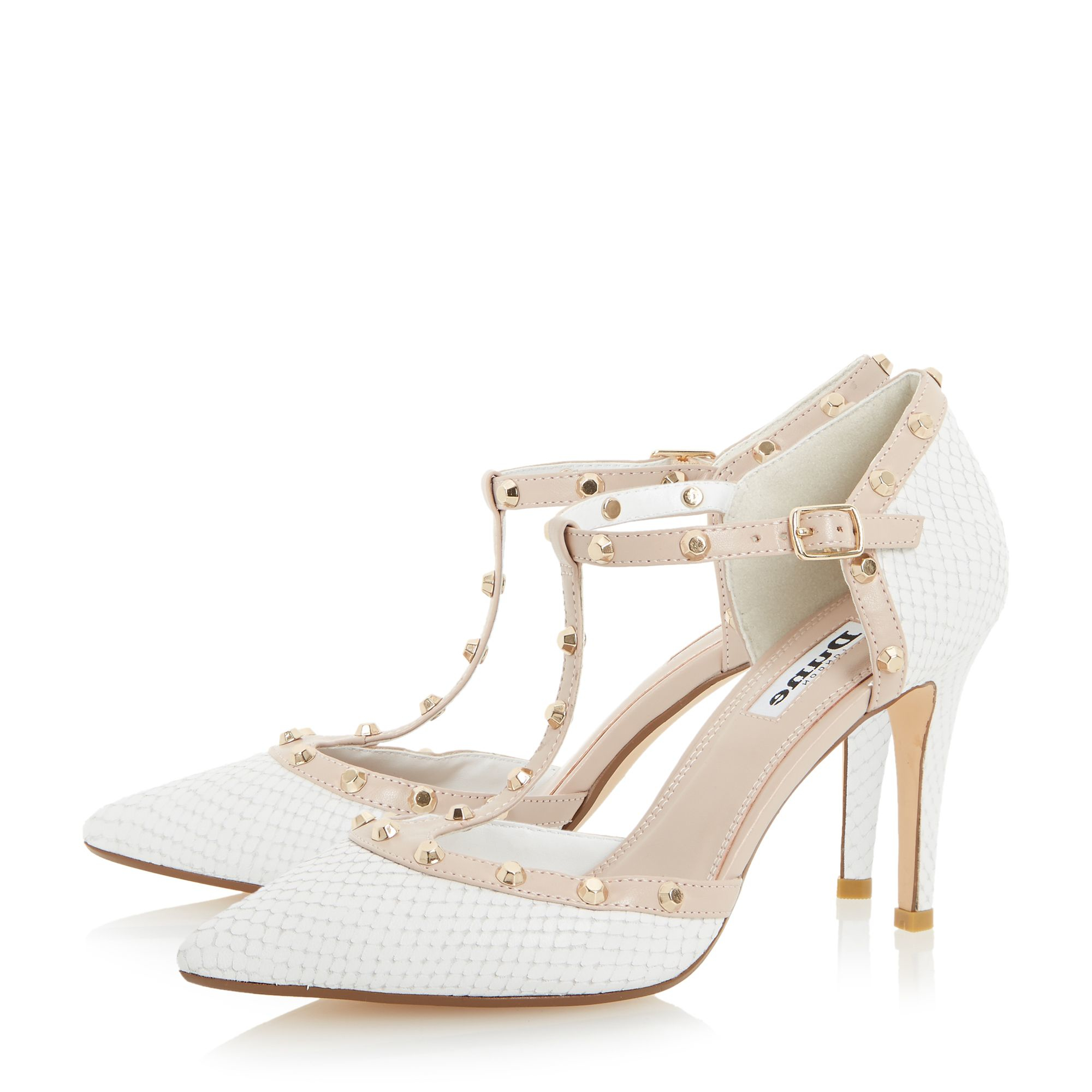 dune cliopatra studded court shoes in white lyst