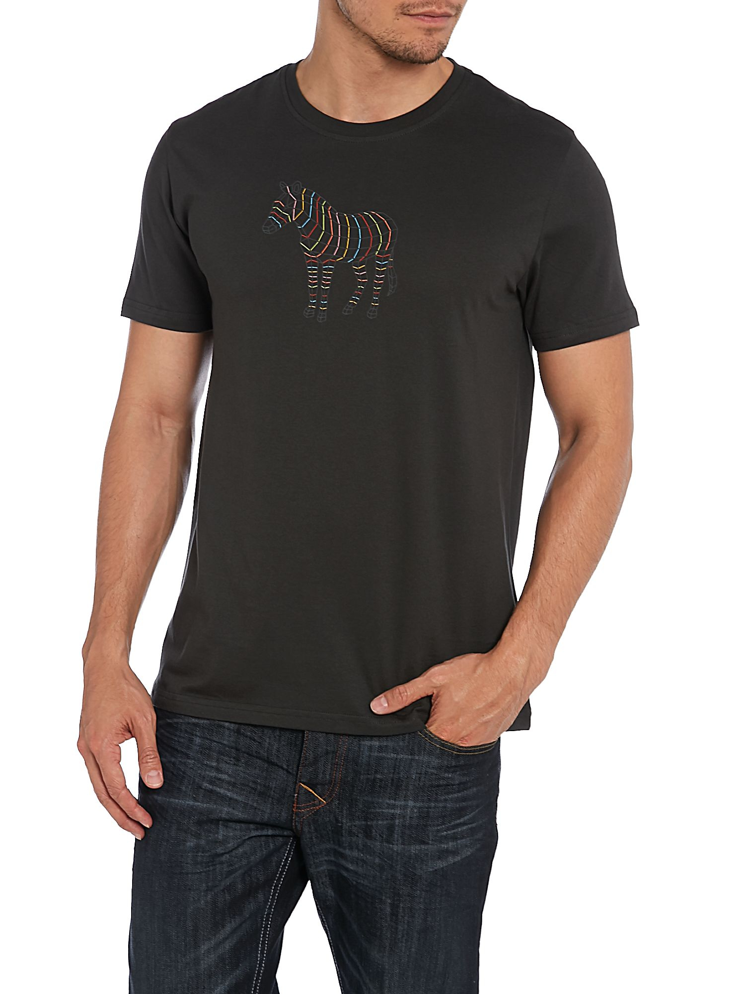Paul smith paul smith zebra print t shirt in black for men for Vista print tee shirt