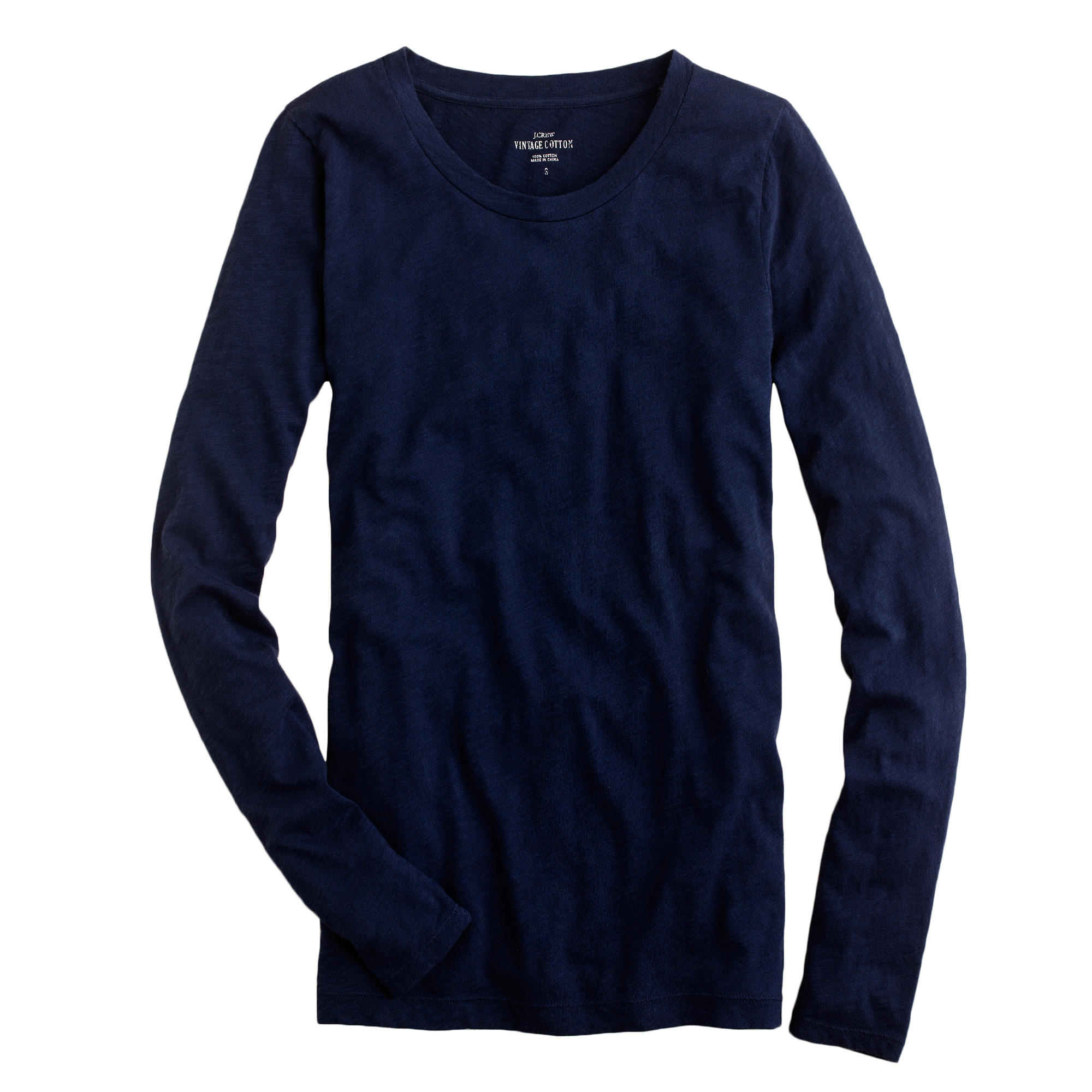 petite vintage cotton long sleeve t shirt in blue