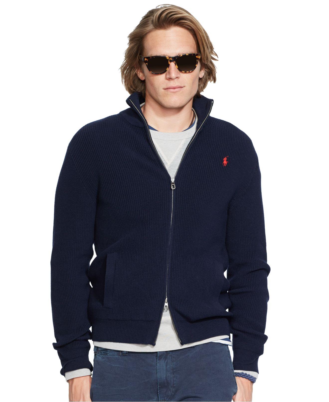 91577f7c175 ... coupon lyst polo ralph lauren lightweight full zip sweater in blue for  men b5ff1 69185