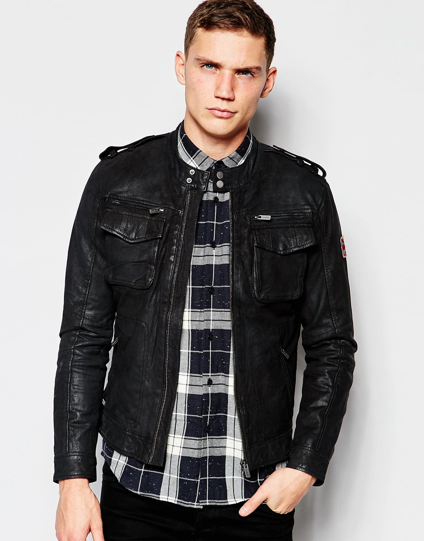 pepe jeans harvey leather jacket in black for men lyst. Black Bedroom Furniture Sets. Home Design Ideas