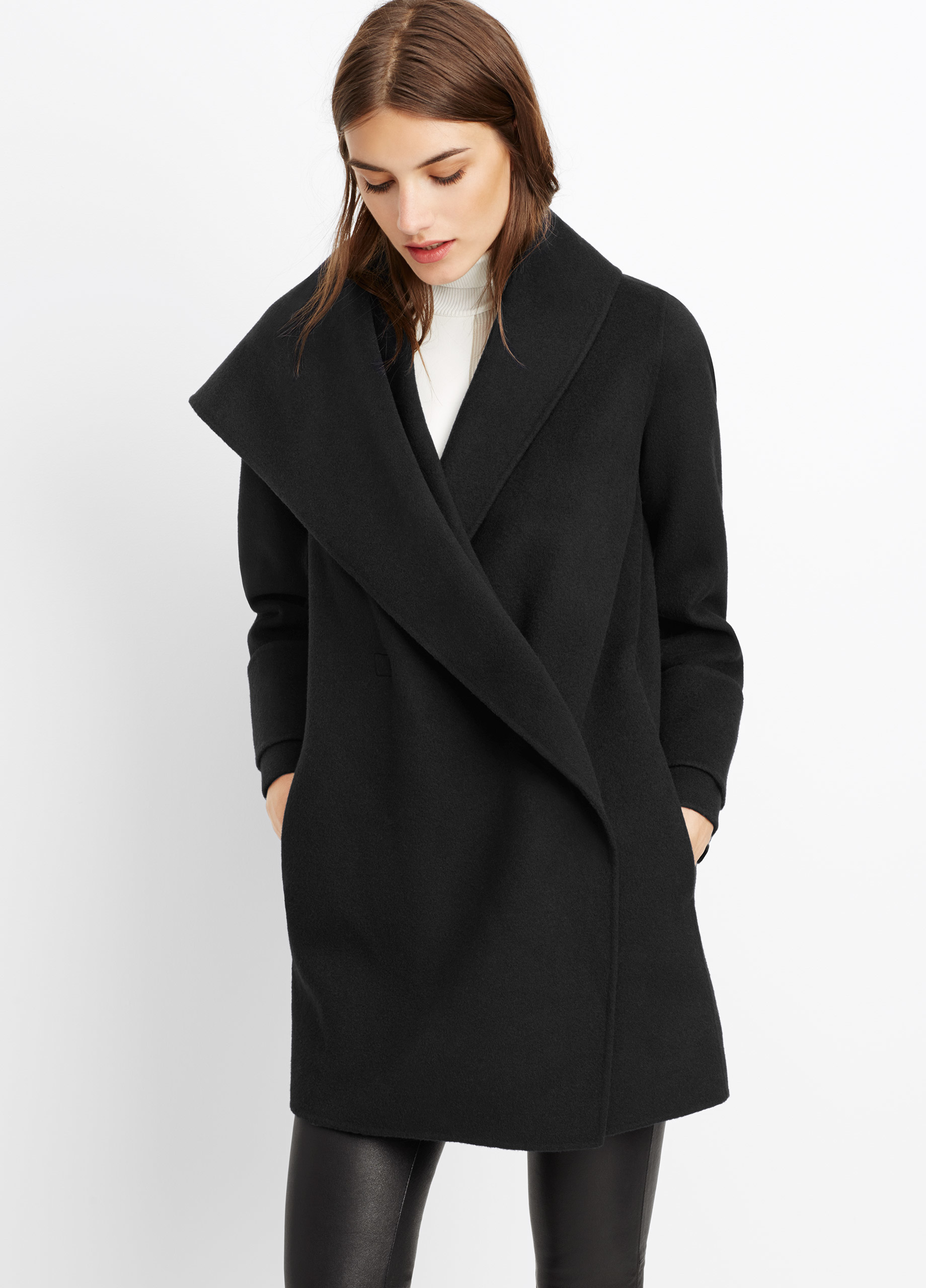 black cashmere wool cardigan open s drapes rib and front coat hooded vince women drape womens knit