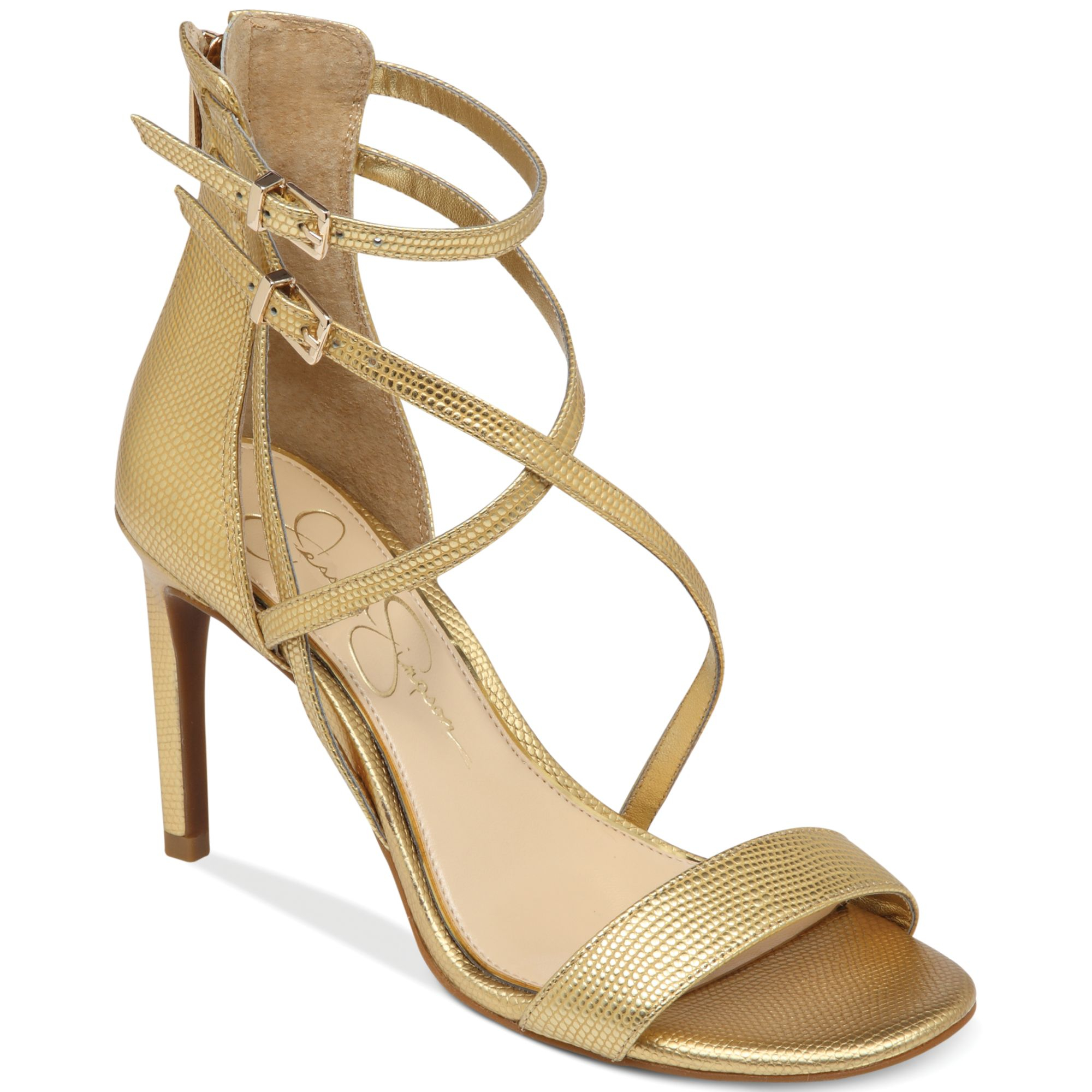 Jessica Simpson Myelle Strappy Sandals In Gold