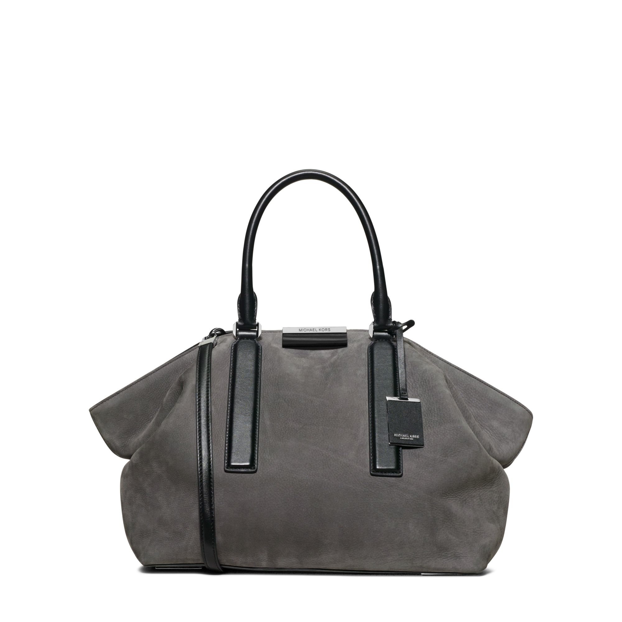 94c99070332 Michael Kors Lexi Large Suede And Leather Satchel in Gray - Lyst