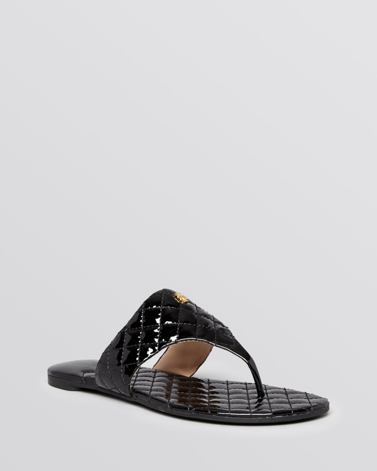Tory Burch Flat Thong Sandals Kent Quilted In Black | Lyst