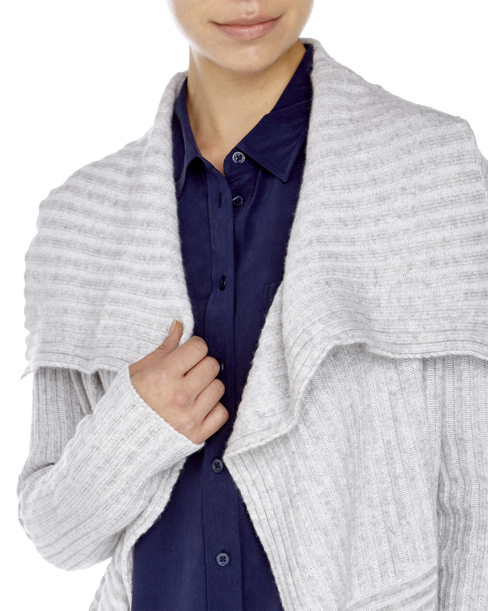 Minnie rose Ribbed Waterfall Cardigan in Gray | Lyst