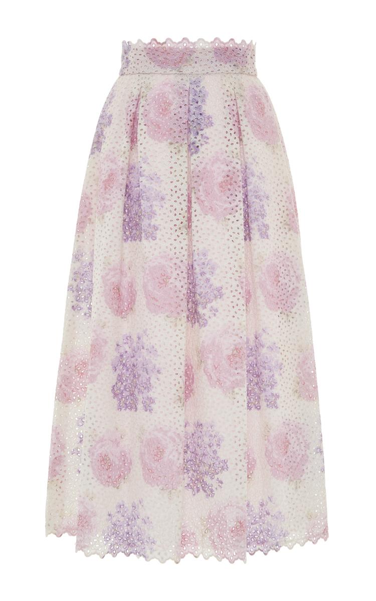 luisa beccaria high waist midi skirt in pink lyst