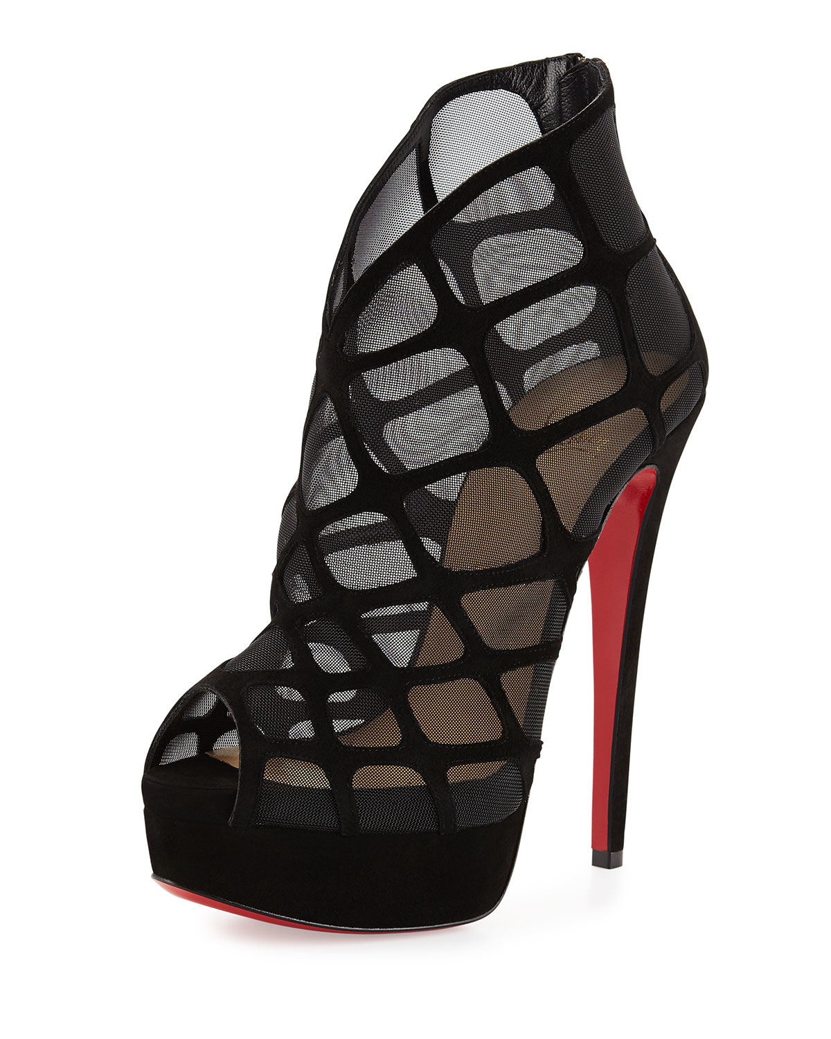 louboutin.com shoes - Christian louboutin Altarakna Mesh-caged Red Sole Bootie in Black ...