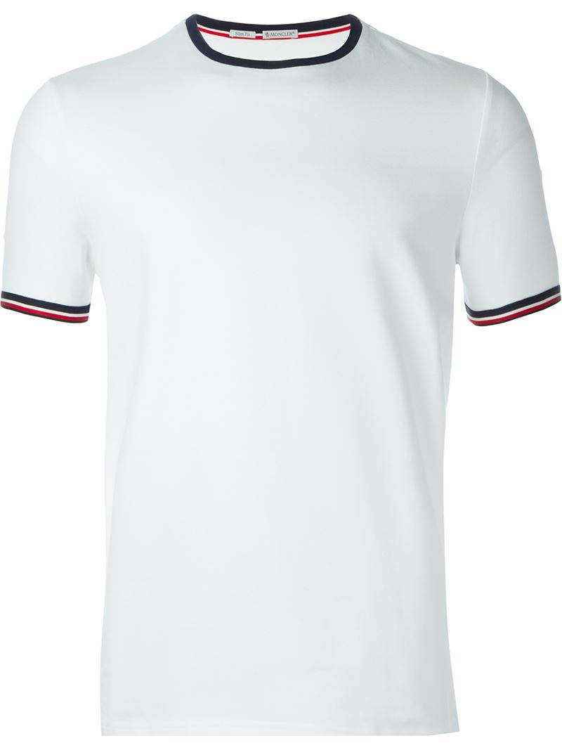 096c9cc99 Lyst - Moncler Striped Stretch-Cotton T-Shirt in White for Men
