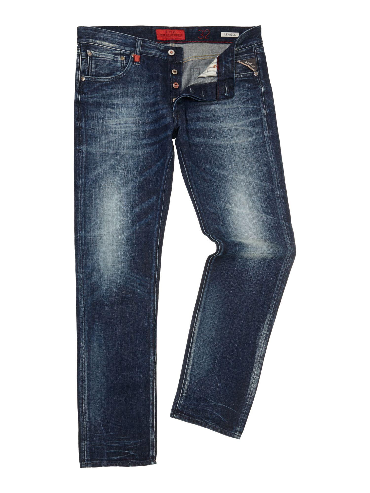 replay lenrick denim jeans regular slim fit in blue for men lyst. Black Bedroom Furniture Sets. Home Design Ideas
