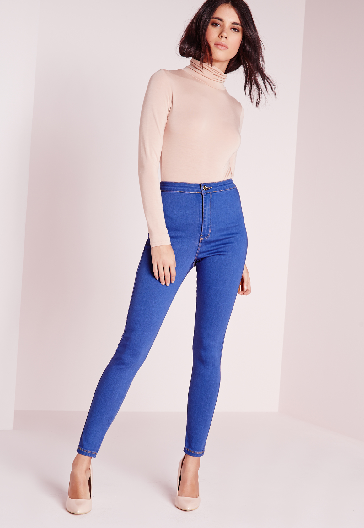 Blue Jeans Waisted Skinny Super Lyst Stretch High Missguided Vice 0qPx8w64