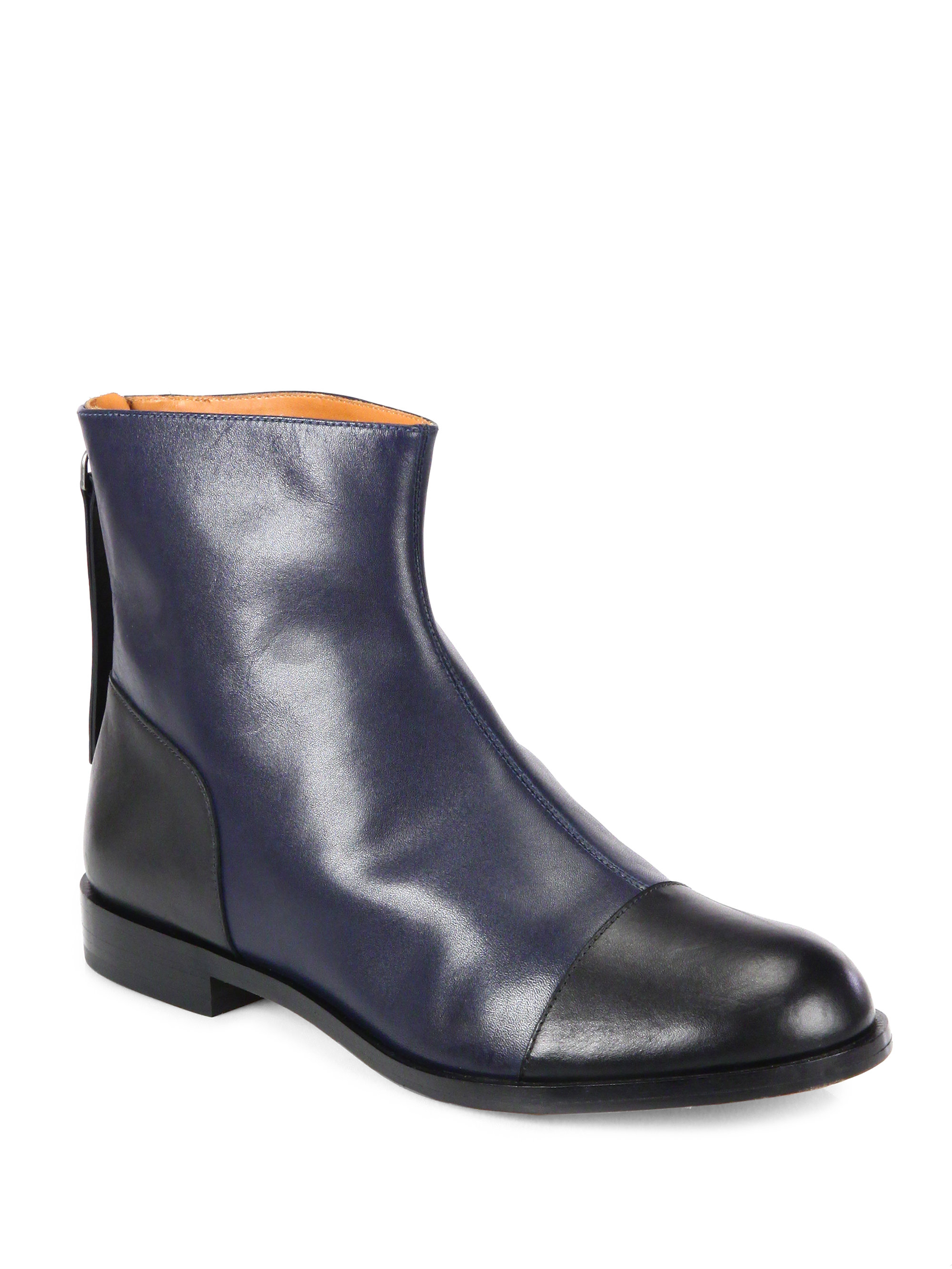 Marc by marc jacobs Flat Leather Ankle Boots in Black | Lyst
