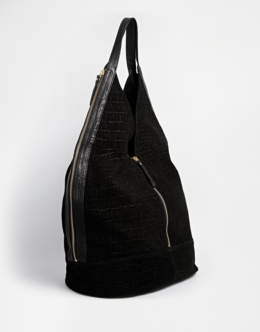 Asos Leather And Suede Slouch Hobo Bag With Zip in Black   Lyst