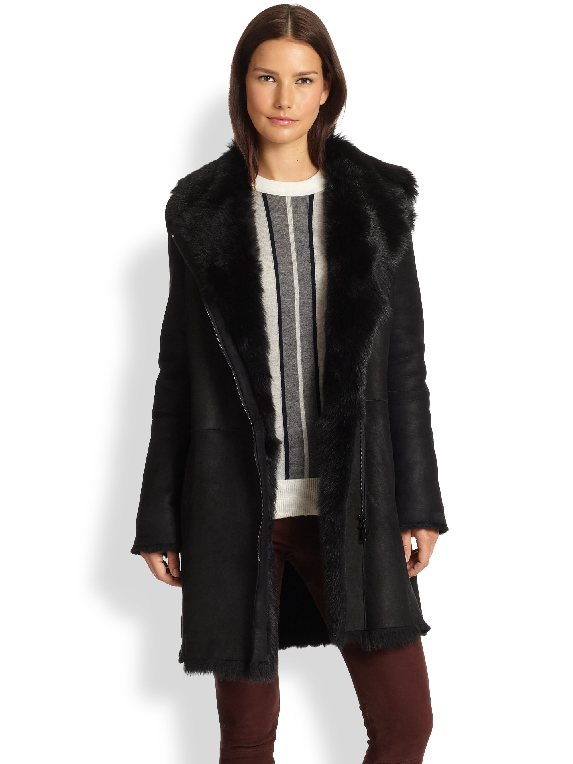 Vince Asymmetrical Toscana Lamb Shearling Coat in Black | Lyst